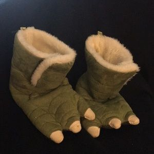 Other - Little Green Sueded Monster/Dragon Slippers